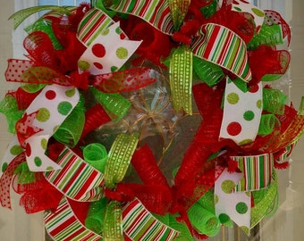 Christmas Wreath / Holiday wreath / Deco Mesh Wreath / Front Door Wreath / Christmas Decor / Wreath