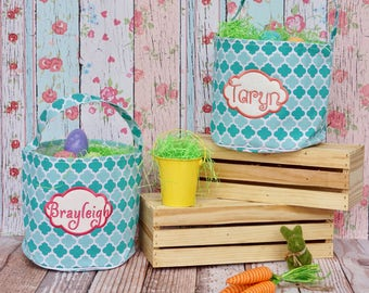 Easter Basket, Easter Bucket, Personalized Easter Basket, Quatrefoil