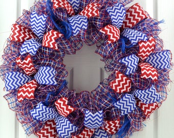 Fourth of July wreath - 4th of July wreath - Red White and Blue Wreath - Patriotic wreath - Fourth of July Decor - 4th of July Decor