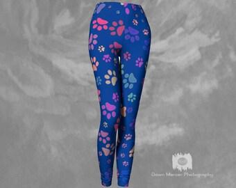 Paw Print Leggings Blue Printed Dog Paw Leggings Tights Blue Yoga Pants