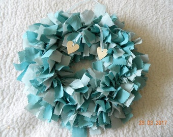Duck Egg Blue Mix Handcrafted Raggy Wreath with Heart Embellishments