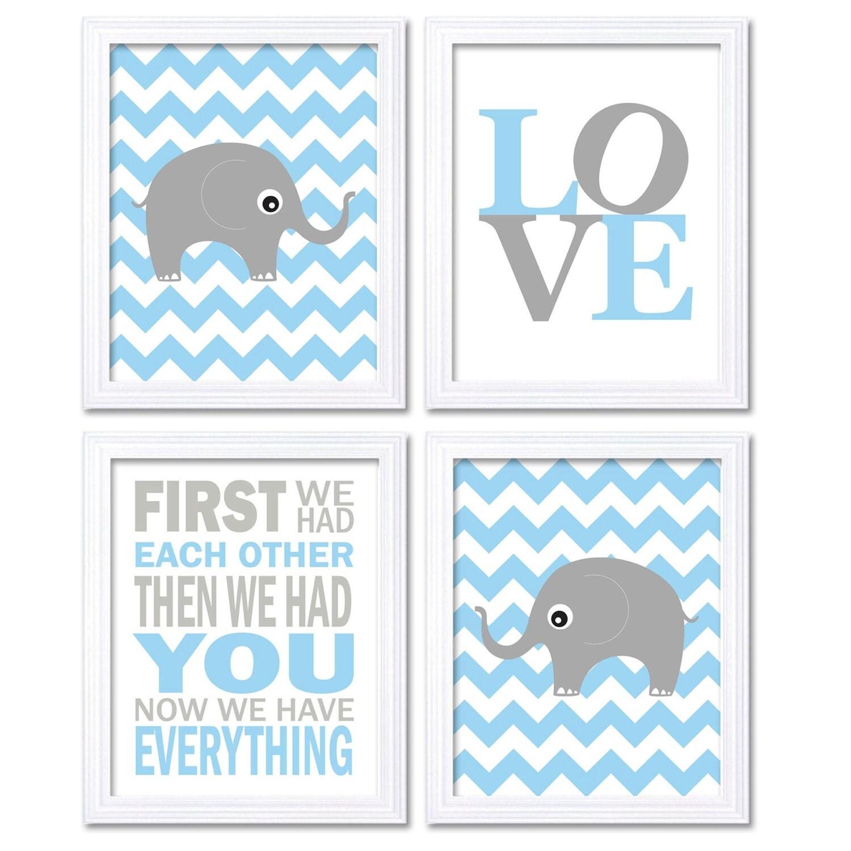 Love Elephant Nursery Art Giraffe Wall Decor First We Had Each Other Set of 4 Prints Baby Blue Grey