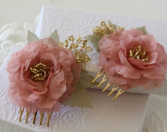 Bridesmaids Hairpiece - Wedding Hair combs - Dusty Pink Hair Accessories - Dusty Pink Hair Roses - Flower Hair Pieces - Romantic Wedding