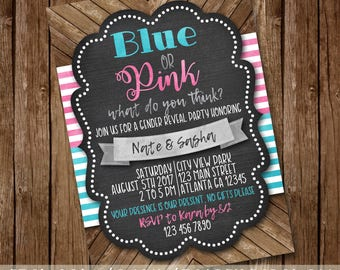 Blue or Pink, What do you think? Gender Reveal Invitation - BabyQ BBQ Shower Invite - Rustic Wood, Chalkboard - Digital Download - Printable