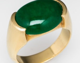 Mens Vintage Ring –Green Agate Cabochon Ring - 18K Yellow Gold Band Ring - WM9705