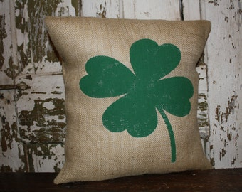 St Patrick's Day Four Leaf Clover pillow cover, Throw Pillow, 16x16 or 12x16 Pillow Cover