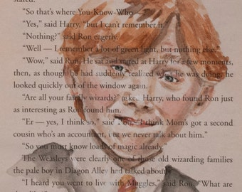 ORIGINAL Ron Weasley Watercolor Book Illustration Harry Potter and the Sorcerer's Stone Page Painting
