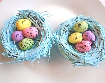 2 Distressed Bird's Nest Robin's Egg Blue Tree Ornament Speckled Easter Eggs Crafts Pink Yellow  Bird Nests Shabby Chic Decor Decorations