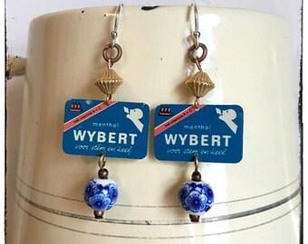 Wybert earrings, upcycled vintage advertising sign earrings, repurposed jewellery