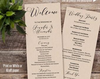 Wedding program, Printable Wedding program, wedding template, Instant download self editable PDF P116