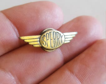 Vintage and rare Sperry Aircraft wing lapel pin, screw back with no manufacturer,  possibly made in house in 1920's