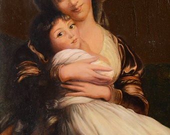 Mother and Son - Exquisite 19th century German Oil painting c1860