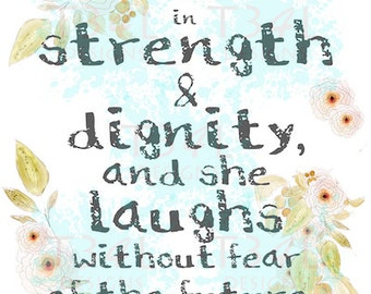 She is Clothed in Strength & Dignity, SVG and PNG, Wall Decor Design or Cutting Files
