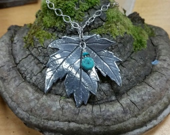 Beautiful Pewter Maple Leaf with a Turquoise Nugget Charm Makes This Necklace a One-of-a-Kind