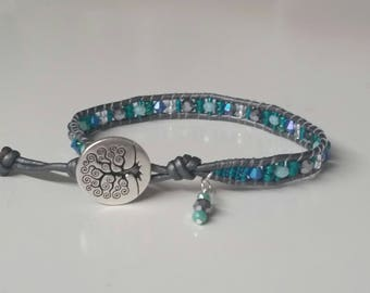 Silver and Teal Greek Leather Wrap Bracelet, Tree of Life Button Clasp