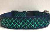 """1"""" navy, green fishscales collar, Leash Available"""