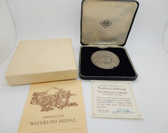 Vintage The WATERLOO MEDAL by Benedetto Pistrucci w/Box,Paper & COA #3147 of 5000
