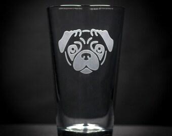 Pug Dog Etched Glass - Pug Face Sandcarved Pub Glass - Pug Puppy Beer Glass - Puggy Glass - Pug Etched Glass - Custom Pug Glass
