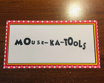 MouseKaTools birthday party sign. Used for silverware. Mickey Mouse clubhouse birthday party sign.