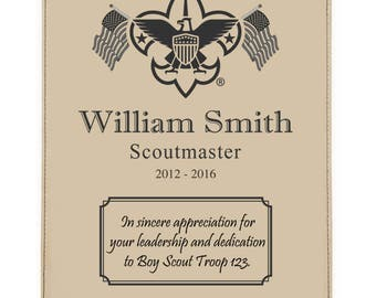 Scout Leader or Member Recognition Plaque - Leatherette