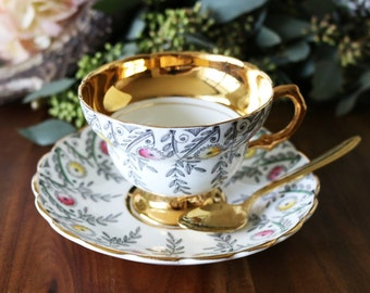 Gold Teacup And Saucer - Made In England By Rosina Bone China - Tea Party - Gold Tea Cup & Saucer - Birthday Gift For Mom - Gold Tea Set