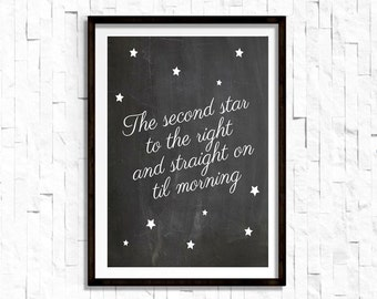 Second Star To The Right and Straight On Til' Morning 8X10 Peter Pan Quote Disney Movie Quote Nursery Decor