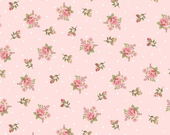 Peaceful Garden~Rosebuds on Pink Cotton Fabric by Henry Glass Fast Shipping F883