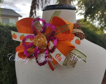 Thanksgiving/Fall/Autum hair bow stack