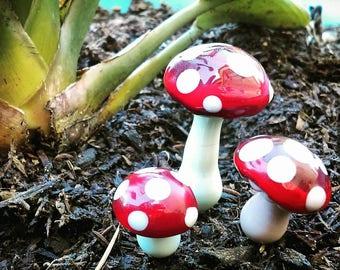 Mushroom Plant Stakes/ Handmade Glass