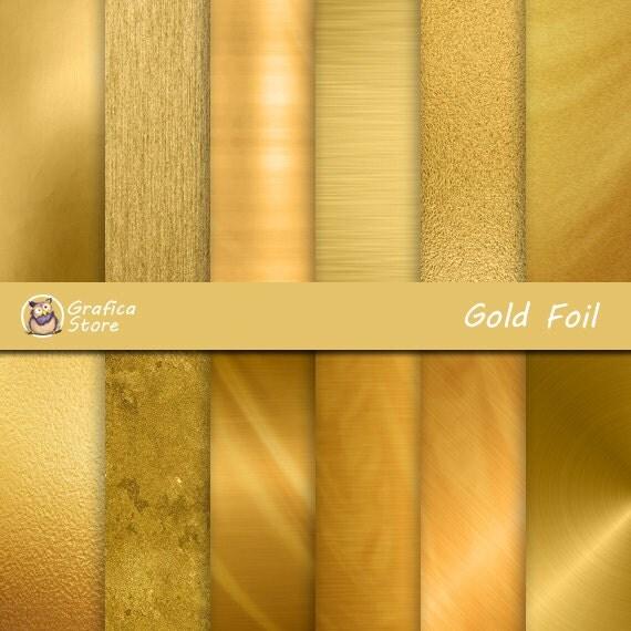 Metallic Gold Digital Paper Gold Foil Digital Paper Gold