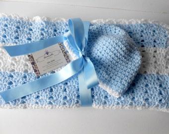 Crochet Baby Blanket. Baby Boy Blanket. Baby Boy gift Set. Crochet Blue Blanket with Hat set. Blue Baby afghan.  Shower Gift. Irish Blanket