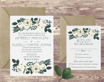 The Exeter Wedding Invitation and RSVP Set, Elegant Wedding Invitations, Floral Wedding Invitation, Rose and Greenery Wedding Invitations