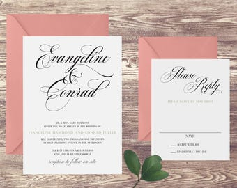 The Amelia Wedding Invitation and RSVP Set, Elegant Wedding Invitations, Formal Wedding Invitation, Blush Wedding Invitation