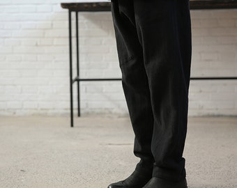 559---Men's Black Washed Ramie Linen Pants, Made to Order.