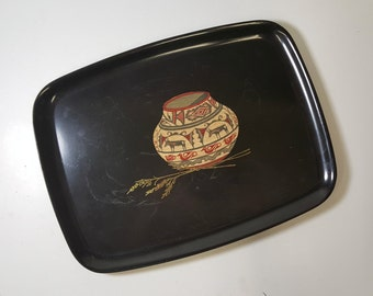 Vintage Couroc Southwest Serving Tray Indian Pottery Design Couroc Giftware Monterey California