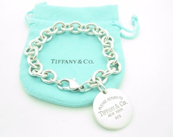 """Please Return To Tiffany & Co. Sterling Silver Round Tag Bracelet 7 3/4"""" with Pouch"""