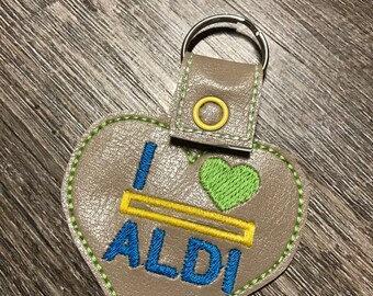 Handmade Heart Shaped Aldi Quarter Keeper Keychain