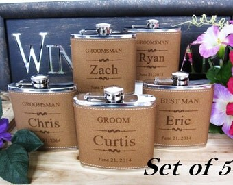 Set of 5 Custom Engraved Leather Flask Set // Groom, Best Man, and Groomsman Flasks // Bride, Maid of Honor, and Bridesmaid Gifts