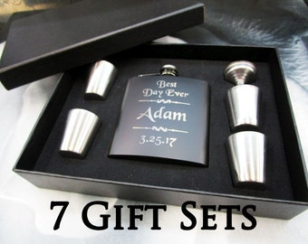 7 Groomsmen Flask Sets // Personalized Mustache Flasks // Groomsmen Flask Gift Set and Shot Glass Set with Funnel // Groomsmen Gifts