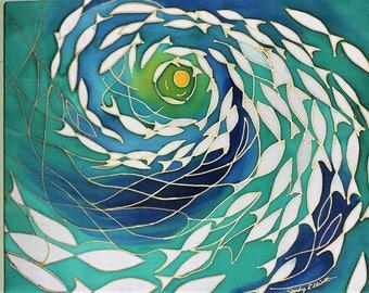 "Hand Painted Silk Wall Hanging 20""wx16""h, Husewarming - ENLIGHTENMENT, Ocean Preservation Series"