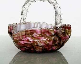 Victorian style, basket with pointed handle, Origin Harrach glass, Northern Bohemia.