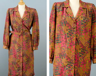 Vintage Long Shirt Dress, Belted Dress, Paisley Print Dress with Cuffs, Don Elliot Sport Dress, 70s Shirt Dress, Collared Dress, Size 10