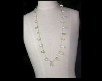 Multi green gemstones necklace.