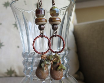 tan earrings, boho earrings, floral earrings, long earrings, dangle earrings, brown earrings, unique earrings, rustic earrings, tan jewelry
