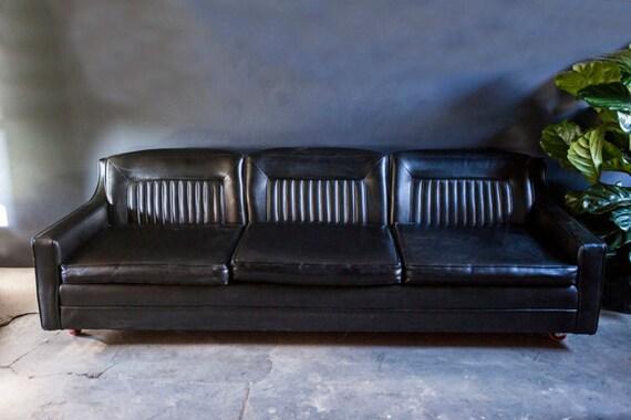 Mid Century Black Vinyl Vintage Couch Sofa