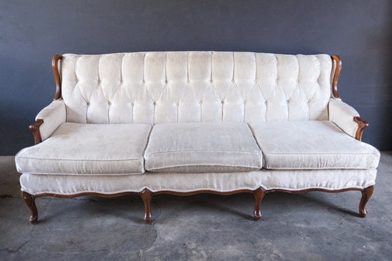 Vintage Mid Century White Sofa Couch