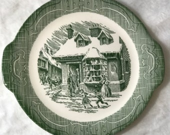 Vintage 1950's Handled Cake Plate in The Old Curiosity Shop by Royal/ Green Plate/ Vintage China