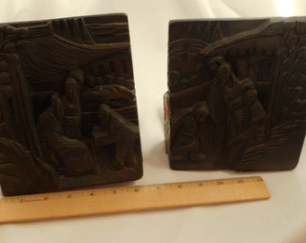 Antique Carved Wood Asian Bookends Vintage