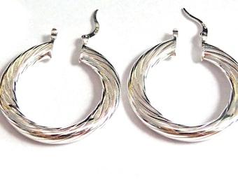 1.25 inch Hoop Earrings Silver Plated Solid Twist Hoop Earrrings