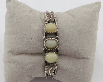 Signed TT Sterling Silver Navajo Milky White Gemstone Leaves Cuff Bracelet for Small Wrists- over 14 grams